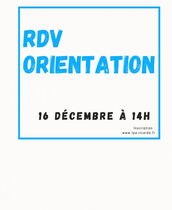 RDV de l'orientation Mercredi 16 décembre